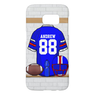 Personalized Blue White Red Grid Iron Jersey Samsung Galaxy S7 Case