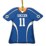 Personalized Blue/White Soccer Jersey 11 V1 Ornament