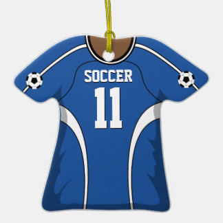 Personalized Blue/White Soccer Jersey 11 V2 Christmas Ornaments