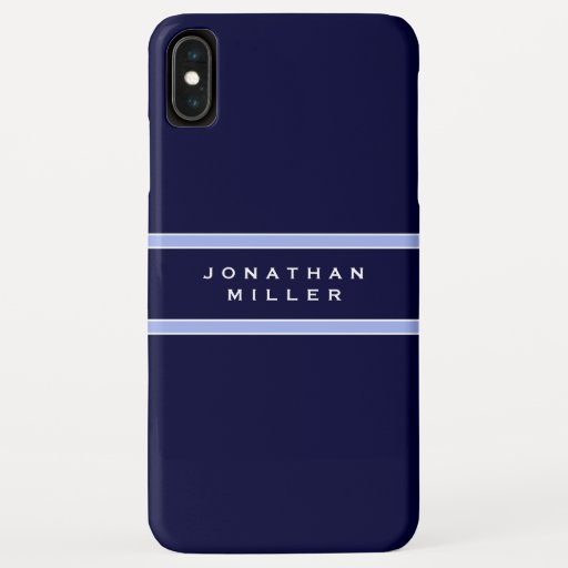 Personalized Blue & White Stripe | Name iPhone XS Max Case