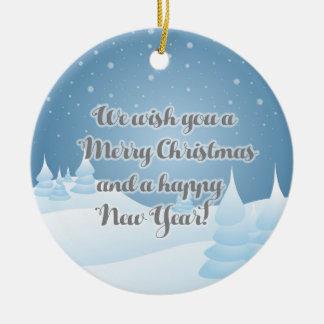 Personalized Blue White Winter Scene Gift Ornament