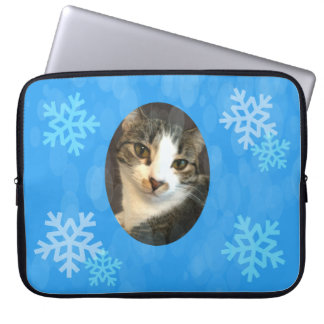Personalized Blue Winter Snowflakes Computer Sleeve