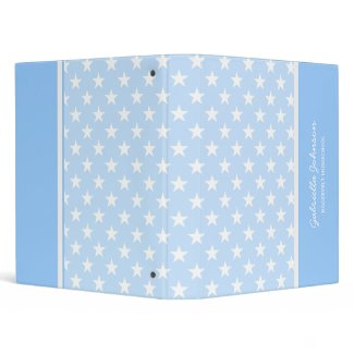 Personalized: Blue With White Heart Stars Binder