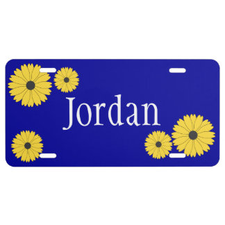 Personalized Blue With Yellow Daisies License Plate