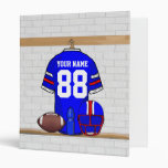 Personalized Blue WR Football Grid Iron jersey 3 Ring Binder