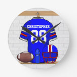 Personalized Blue WR Football Grid Iron Jersey Round Wall Clock