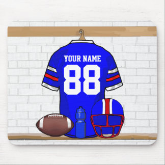 Personalized Blue WR Football Grid Iron Jersey Mousepad