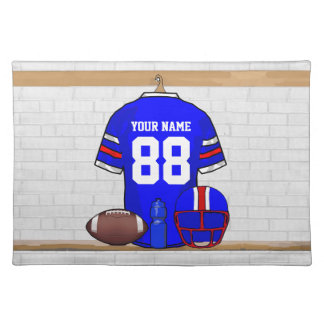Personalized Blue WR Football Grid Iron Jersey Cloth Placemat