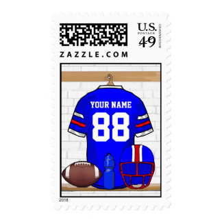 Personalized Blue WR Football Grid Iron Jersey Stamp