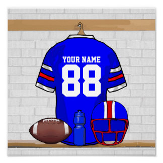 Personalized Blue WR Football Grid Iron Jersey Poster