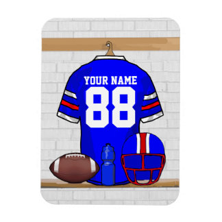 Personalized Blue WR Football Grid Iron Jersey Rectangle Magnet