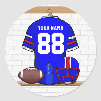 Personalized Blue WR Football Grid Iron Jersey Round Stickers