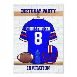 Personalized Blue WR Football Jersey Birthday Card