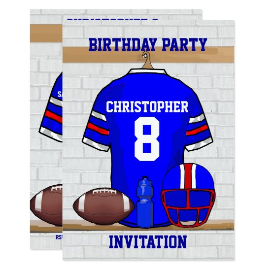 Personalized Blue WR Football Jersey Birthday Invitation