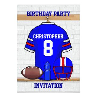 "Personalized Blue WR Football Jersey Birthday 5"" X 7"" Invitation Card"