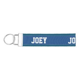 Personalized blue wrist keychain