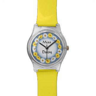 Personalized Blue & Yellow Miss Daisy Doily Watch
