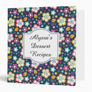 Personalized Blue Yellow Pink Floral Notebook Binder