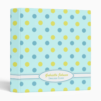 Personalized: Blue & Yellow Polka Dot Binder