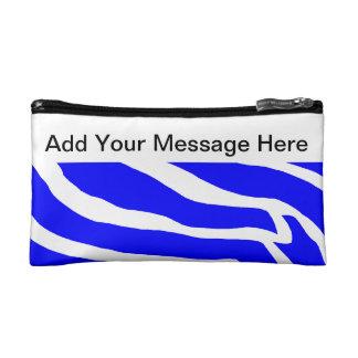 Personalized Blue Zebra Makeup Bags