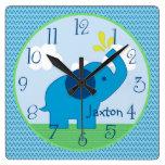 Personalized Blue Zig Zag Elephant Nursery Clock