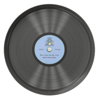 Personalized Bluegrass Vinyl Record Dinner Plate
