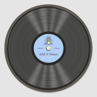 Personalized Bluegrass Vinyl Record Round Stickers