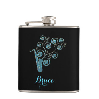 Personalized Blues Saxophone Music Notes Flask