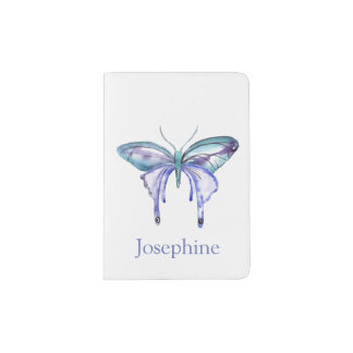Personalized Bluish Purple Watercolor Butterfly Passport Holder