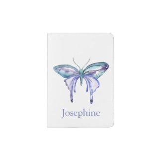 Personalized Bluish Purple Watercolor Butterfly Passport Holder
