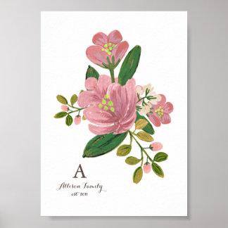 Personalized   Blush Bouquet Art Print 5x7