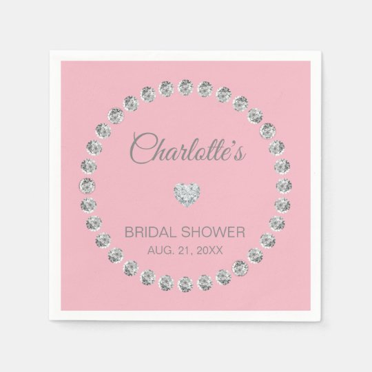 personalized blush pink diamond bridal shower napkin