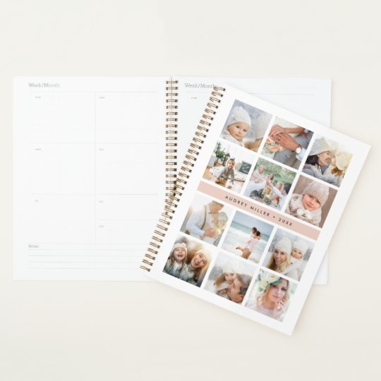 personalized blush pink photo collage planner zazzle com