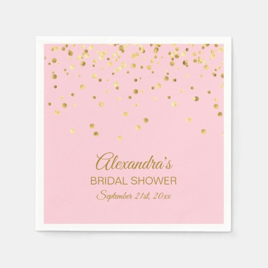 personalized blush pink rose gold bridal shower napkin