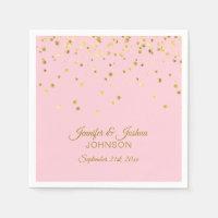 Personalized Blush Pink Rose Gold Confetti Wedding Napkin