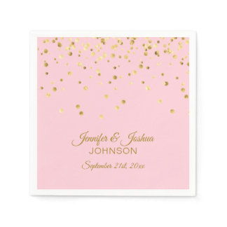 Personalized Blush Pink Rose Gold Confetti Wedding Napkin