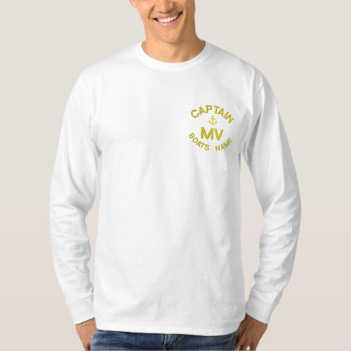 Personalized boat captain monogram and anchor embroidered long sleeve T_Shirt