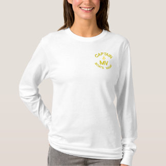 Personalized boat captain monogram and anchor embroidered long sleeve T-Shirt