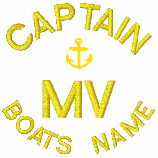 Personalized boat captain monogram and anchor embroidered shirt