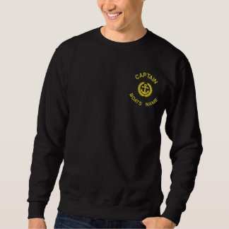 Personalized boat captain monogram and anchor embroidered sweatshirt