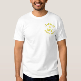Personalized boat captain monogram and anchor embroidered T-Shirt