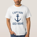 "Personalized boat captain name anchor t shirts<br><div class=""desc"">Personalized boat captain name anchor t shirts. Nautical clothing with navy blue anchor and custom name or monogram initial letters. Maritime Birthday gift idea for sailor men. Make your own for skipper dad, father, grandpa, uncle, son, friend, stepfather, stepdad etc. Vintage typography with ship anchor design. Customizable clothes for sailing...</div>"