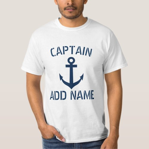 Personalized boat captain name anchor t shirts