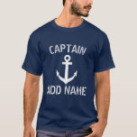 "Personalized boat captain name navy anchor shirts<br><div class=""desc"">Personalized boat captain name navy anchor shirts. Nautical clothing with navy blue anchor and custom name or monogram initial letters. Maritime Birthday gift idea for sailor men. Make your own for skipper dad, father, grandpa, uncle, son, friend, stepfather, stepdad etc. Vintage typography with ship anchor design. Customizable clothes for sailing...</div>"