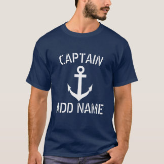 Personalized boat captain name navy anchor shirts