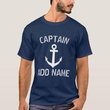 logotees Personalized boat captain name navy anchor shirts