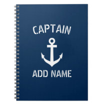 Personalized boat captain nautical anchor notebook