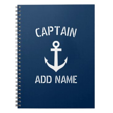 logotees Personalized boat captain nautical anchor notebook