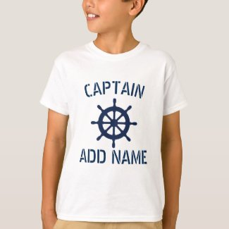 Personalized boat captain nautical kids t shirt