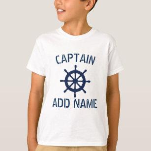 Personalized boat captain nautical kids t shirt